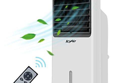IcyAir Mobile Klimagerät, Luftkühler mit Ventilator Klimaanlage mit Fernbedienung 110 W Turmventilator Leise Luftbefeuchtung Klima Anlage Timer 3 Stufen Aircooler inkl. 2 x Kühlakku Für Haus Büro