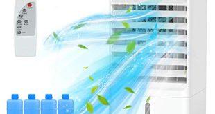 Nobebird mobile Klimagerät Klimaanlage Luftkühler leise Ventilator mit Fernbedienung/Luftbefeuchtung Luftreiniger mit 3,5 Millionen negative Ionen/3 Windgeschwindigkeiten und 3 Modi/1-7h Timing
