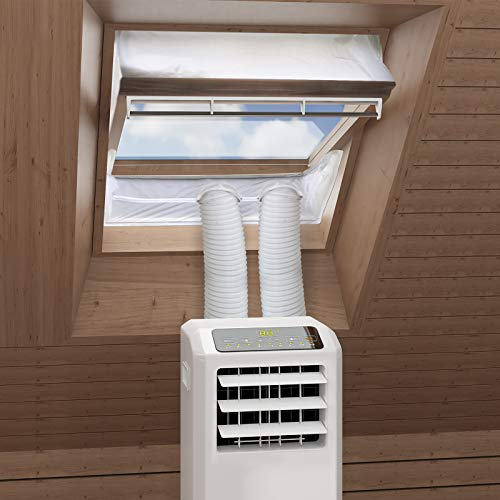 HOOMEE Fensterabdichtung für mobile Klimageräte Dachfenster, Hot Air Stop zum Anbringen an Schwingfenster, Fensterabdichtung Klimaanlage für max. 460cm Fensterumfang, Fensterkitt Set 2x230cm
